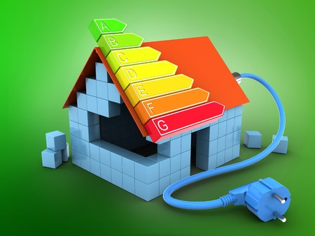 enchufe de luz: 3d illustration of block house over green background with power ranks