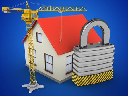 stipes: 3d illustration of generic house over blue background with padlock and crane