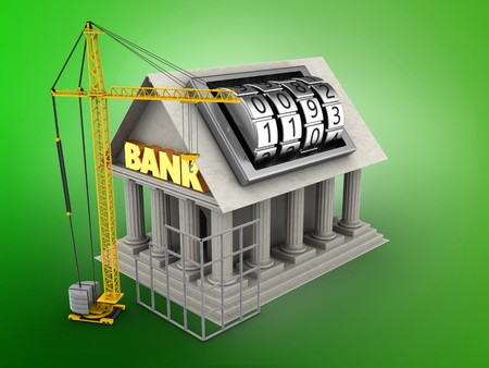 building site: 3d illustration of Bank over green background with code lock dial and construction site
