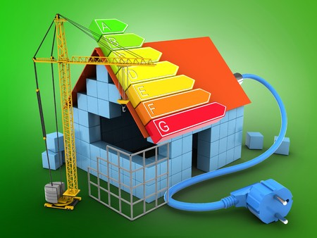 3d illustration of block house over green background with power ranks and construction site