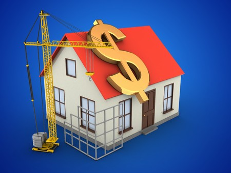building site: 3d illustration of generic house over blue background with dollar sign and construction site