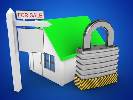stipes: 3d illustration of simple house over blue background with padlock and sale sign Stock Photo