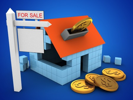 rent index: 3d illustration of block house over blue background with coins and sale sign