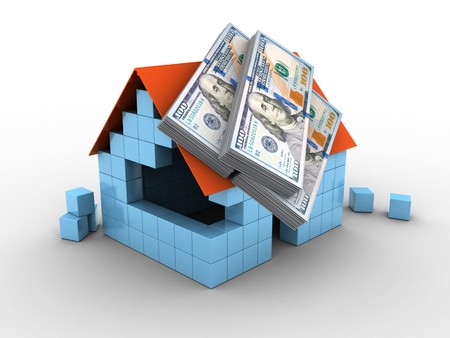 lien: 3d illustration of block house over white background with money