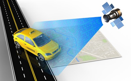 speedway: 3d illustration of bright map with taxi and Stock Photo