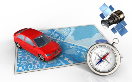 3d illustration of blue map with car and gps satellite