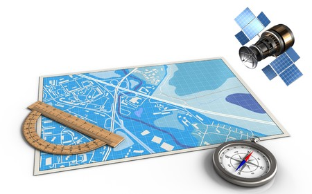 3d illustration of blue map with protractor and gps satellite