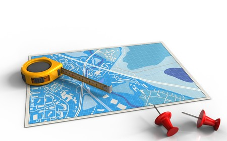3d illustration of blue map with measure tool and