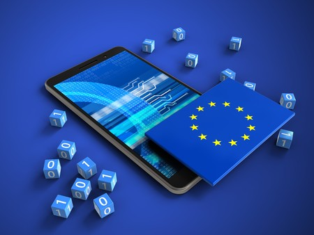 3d illustration of mobile phone over blue background with binary cubes and EU flag