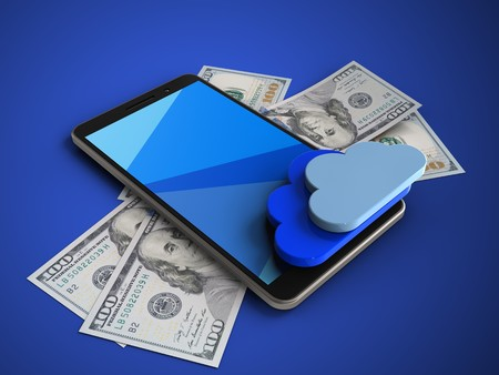 remote server: 3d illustration of mobile phone over blue background with banknotes and clouds