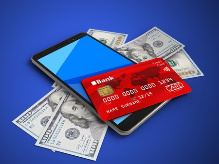 cyan business: 3d illustration of mobile phone over blue background with banknotes and credit card Stock Photo