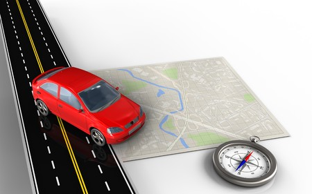 speedway: 3d illustration of bright map with car and compass