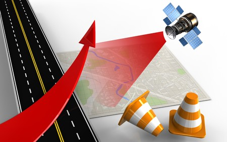 speedway: 3d illustration of bright map with red arrow and repair cones