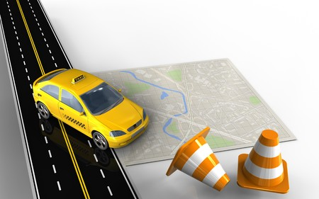3d illustration of bright map with taxi and repair cones