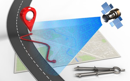 3d illustration of bright map with route and circle tool
