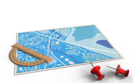 drawing pin: 3d illustration of blue map with protractor and