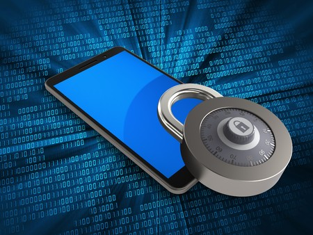 3d illustration of mobile phone over digital background with lock