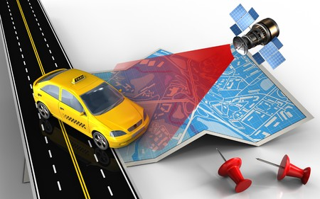 speedway: 3d illustration of city map with taxi and red pins