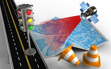 3d illustratie van stadskaart met verkeerslicht en reparatiekegels