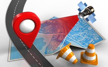 3d illustration of city map with location pin and repair cones Stock Photo