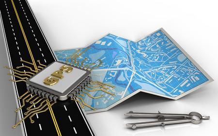 Illustration 3d de la carte de la ville avec la puce gps et outil de papier Banque d'images - 83097119