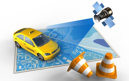 3d illustration of blue map with taxi and satellite