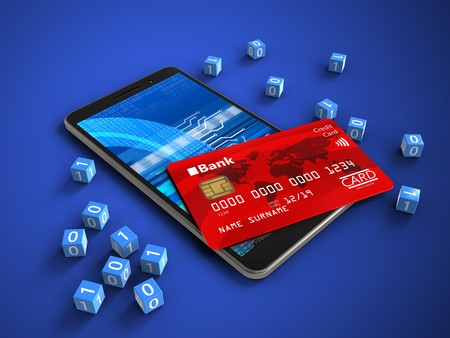 3d illustration of mobile phone over blue background with binary cubes and credit card Stock Photo