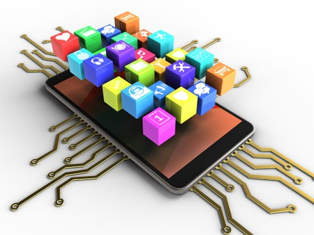 processors: 3d illustration of mobile phone over white background with electronic circuit and icons