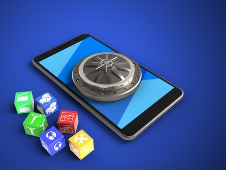 3d illustration of mobile phone over blue background with cubes and vault door