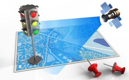 3d illustration of blue map with traffic light and satellite digital signal
