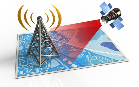 3d illustration of blue map with antenna and satellite