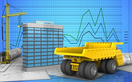 3d illustration of generic building with crane over graph background Stock Photo