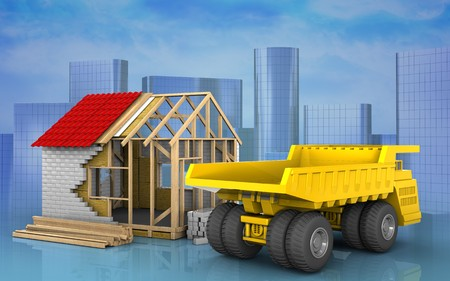 3d illustration of frame house over skyscrappers background Stock Photo