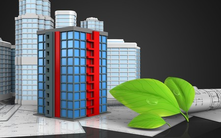 3d illustration of building with urban scene over black background Stock Photo