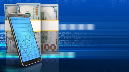 3d illustration of dollar banknotes over digital background with phone