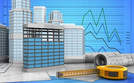 3d illustration of building construction with urban scene over graph background Imagens