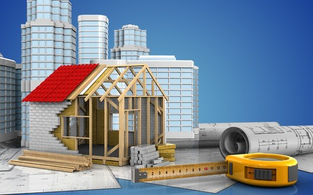 3d illustration of frame house with urban scene over blue background