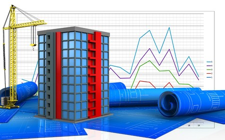 3d illustration of building with crane over business graph background