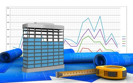 3d illustration of building construction over business graph background