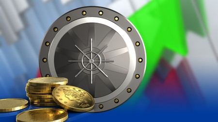 3d illustration of valut door over arrows graph background with golden coins Stock Photo