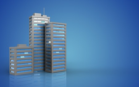 3d illustration of city buildings over blue background