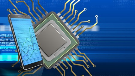 html: 3d illustration of cpu over digital background with phone