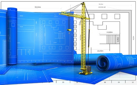 3d illustration of crane with drawing roll over blueprint background Stock Photo