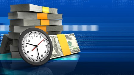 3d illustration of money stack over digital background with clock