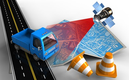 wireless communication: 3d illustration of city map with truck and repair cones Stock Photo