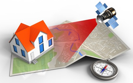 3d illustration of map paper with house and satellite