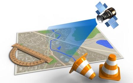 分度器と衛星地図の 3 d イラストレーション