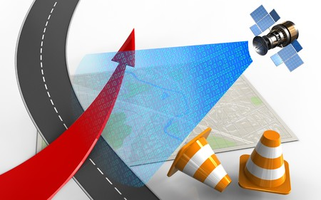 3d illustration of bright map with red arrow and repair cones
