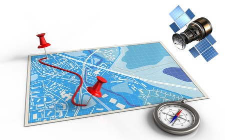 3d illustration of blue map with pins and route and gps satellite
