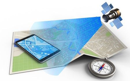 wireless communication: 3d illustration of map paper with mobile phone and satellite digital signal Stock Photo